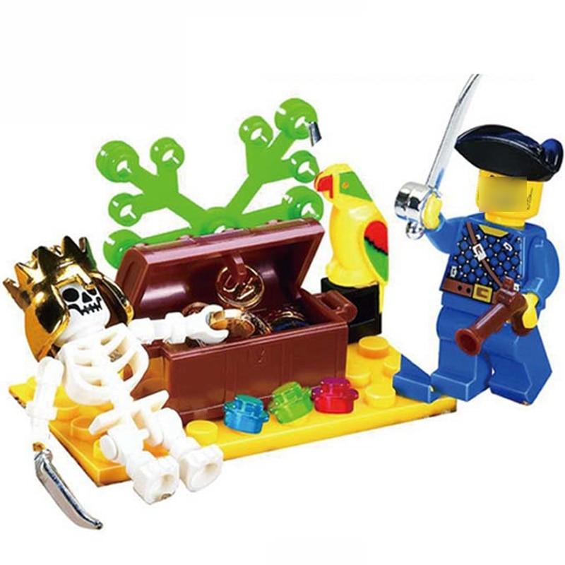 Pirates Compatible Lepining Pirate Series Constructor Skulled Island Adventure Figure Building Blocks Xmas Bricks Kids Toy