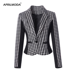 3XL Plus Size plaid blazer Long sleeve slim fit office Autumn Vintage blazer Houndstooth 2018 jacket women blazers and Jackets