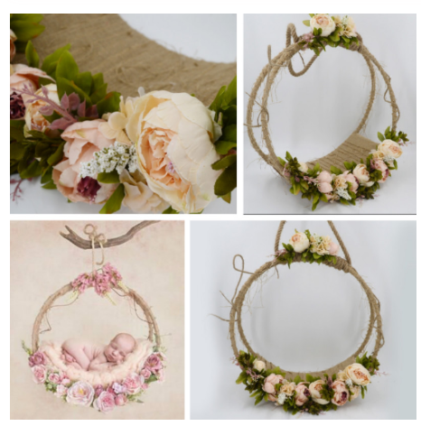 Newborn Photography Props Baby Photo Swing Infant Posing Props Flower Basket Baby Shoot Accessories For Studio New Type