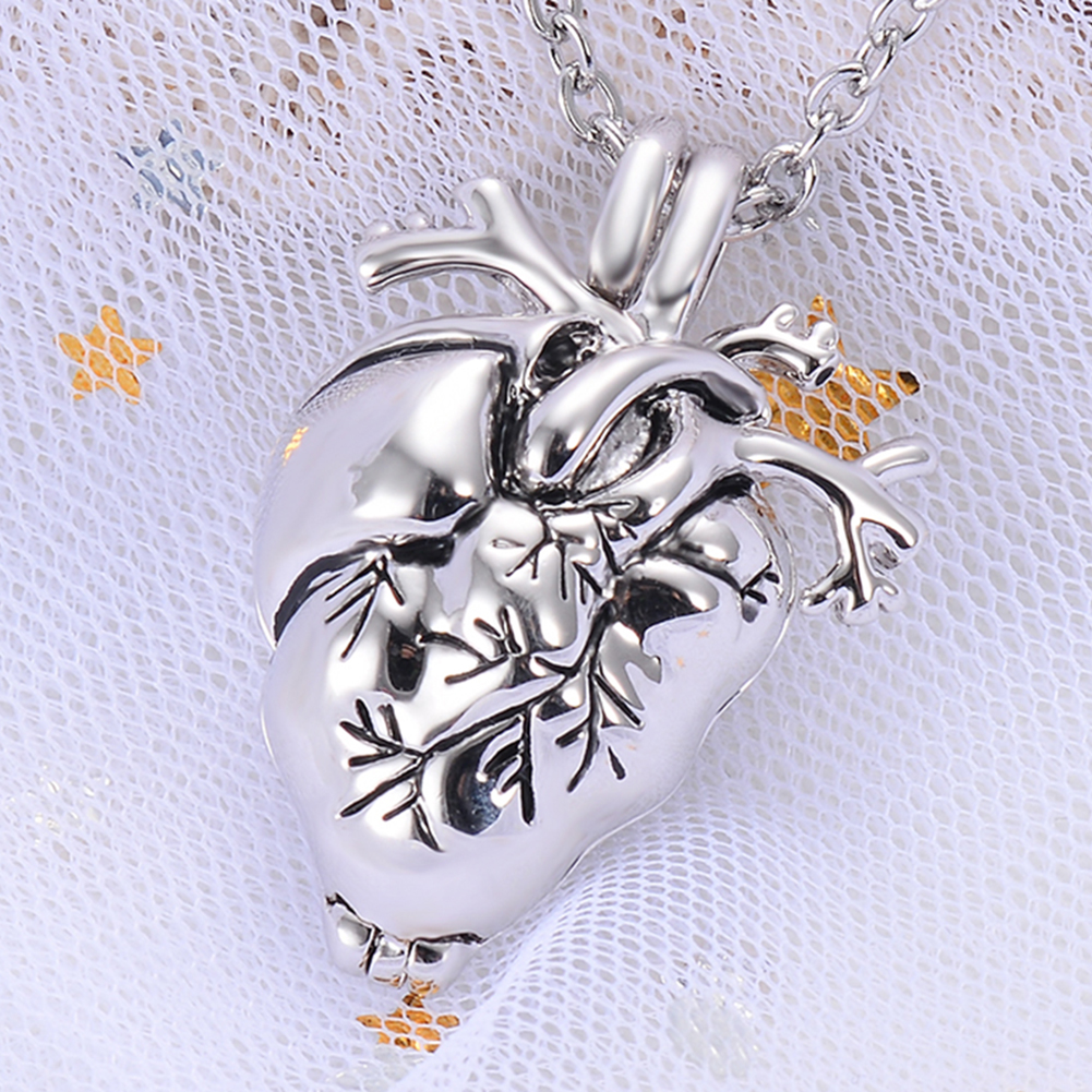 Gothic Heart Stainless Steel Cremation Pendant Necklace Ash Urn Holder