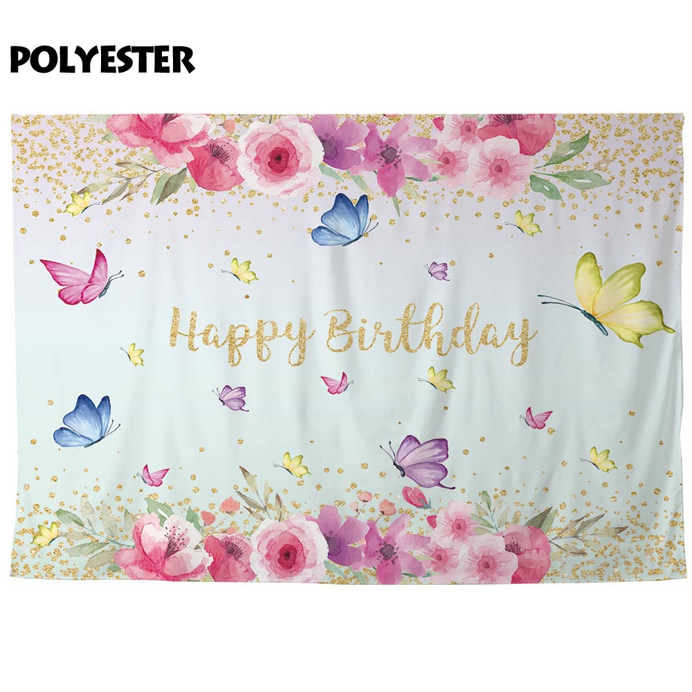 Allenjoy Colorful Butterfly Photobooth Spring Flowers Leaves