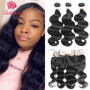 Beauhair 8-24inch Malaysia body wave bundles Human Hair Weave2/PCSWith 13*6 Lace Frontal Non Remy Hair Extension nature color(China)