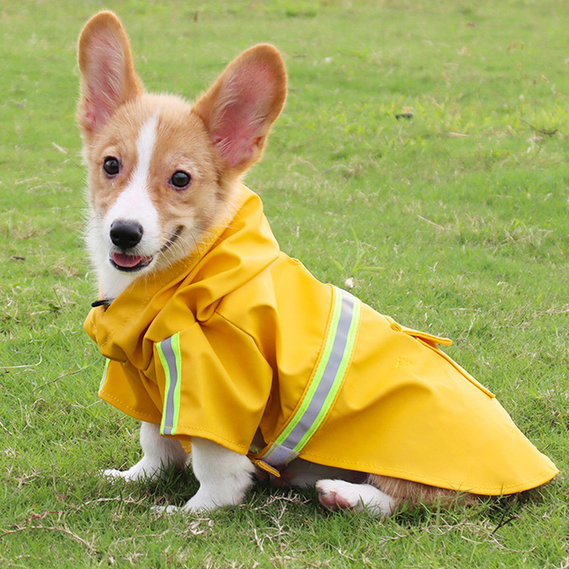 PU  Leather Raincoat for Dog Waterproof Coat Jacket with Hat Reflective Raincoats Clothes for Small Medium Large Dogs Product