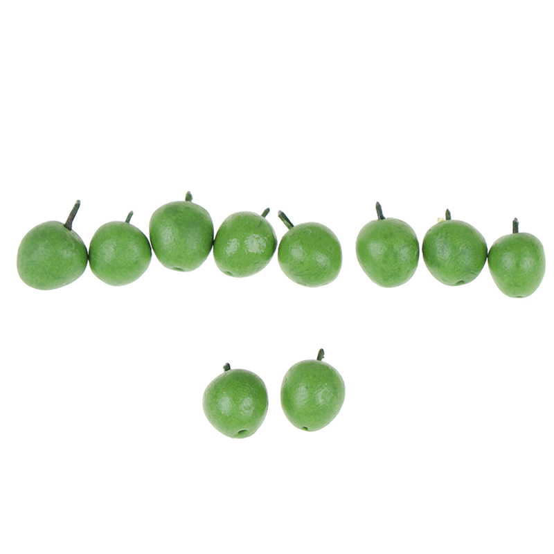 10Pcs Doll House Miniature Accessories Mini Resin Green Apple Simulation Fruit Model Toy Doll House Decoration