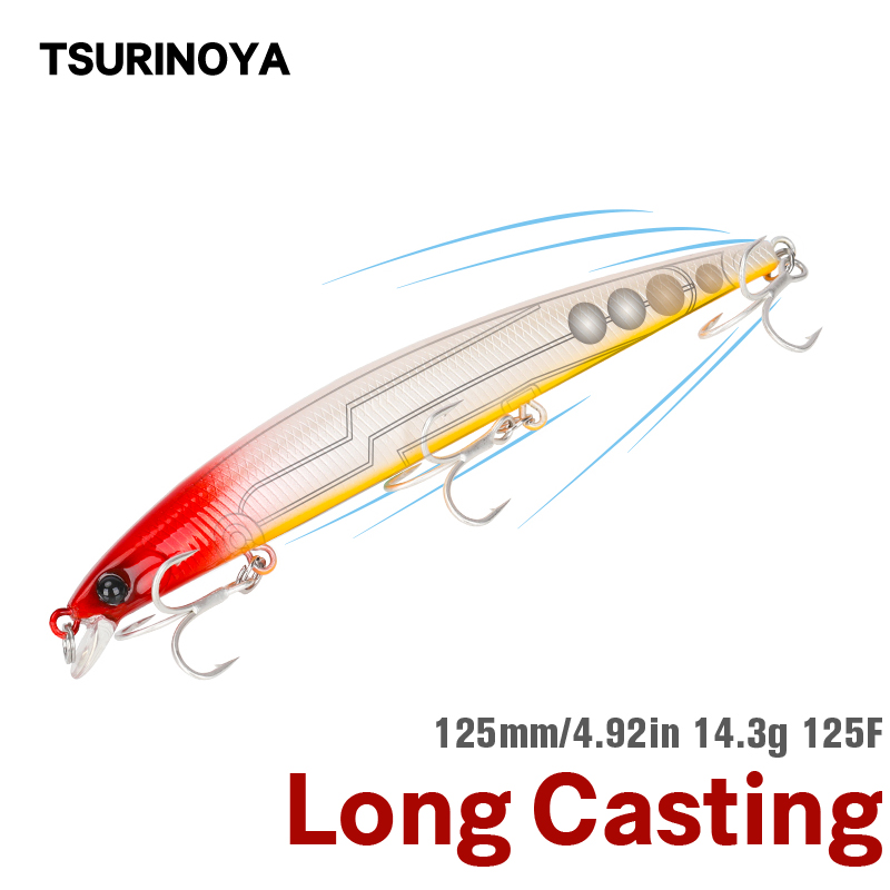 TSURINOYA Sea Fishing Floating Minnow 125F Fishing Lure DW72 125mm 14.3g Shallow Range Long Casting Pike Seabass Black Bass Bait(China)