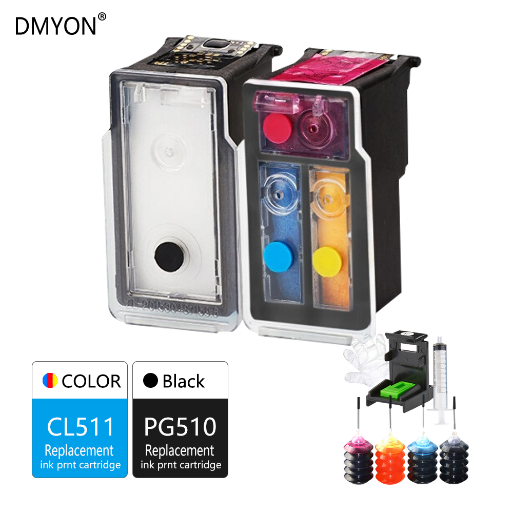 DMYON PG510 CL511 Refillable Ink Cartridge Compatible for Canon PG510XL CL511XL Pixma iP2700 iP2702 MP240 MP250