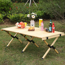 Wooden Table BBQ Folding Picnic Garden Outdoor Camping Travel Cake-Roll
