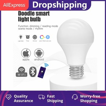 new e27 rgbw led lamp wifi smart light bulb 7w dimmable multicolor wake up lights compatible with alexa and google assistant New Dimmable 9W B22 E27 WiFi Smart Light Bulb LED Lamp App Operate Alexa Google Assistant Control Wake Up Smart Lamp Night Light