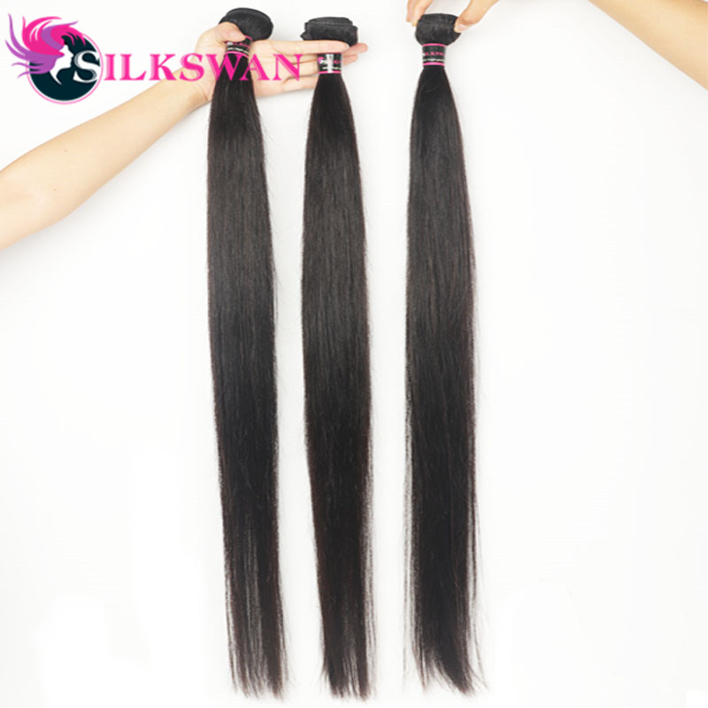 Silkswan Brazilian Straight 100% Human Middle Ratio Remy Hair 10-40 Inch 3 Bundles with Closure 10-28'' With Baby Hair For Women
