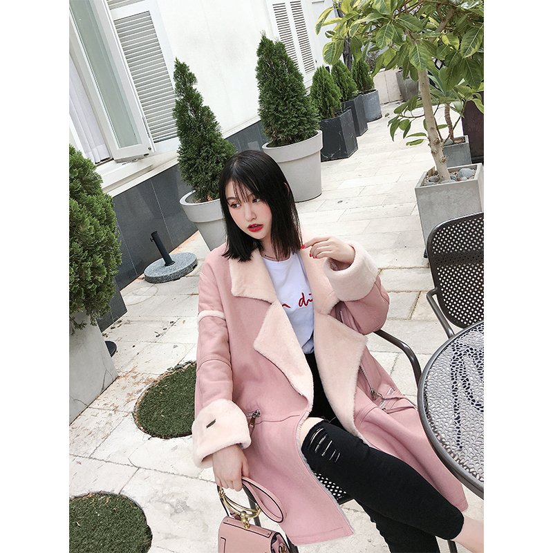 Geniune Leather Jacket Women Sheepskin Leather Double Faced Fur Coat Winter Real Sheep Fur Thick Outwear 17069 MF315