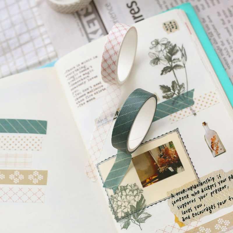 5 unids/set patrones geométricos conjunto de cintas adhesivas rejilla Washi Tape rayas cuadrados cinta decorativa pegatinas de papel Washi Scotch Decoratif
