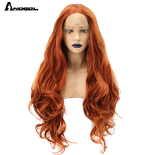 Anogol fibra de alta temperatura parte livre laranja natural longo corpo onda de cobre vermelho sintético peruca dianteira do laço para mulher branca