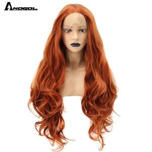 Image 1 - Anogol fibra de alta temperatura parte livre laranja natural longo corpo onda de cobre vermelho sintético peruca dianteira do laço para mulher branca