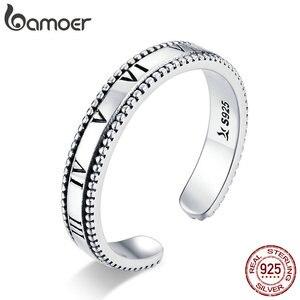 Bamoer cyfra rzymska pierścień dla kobiet 925 srebro Retro regulowane pierścienie zespół Punk Style Unisex biżuteria srebrna SCR658
