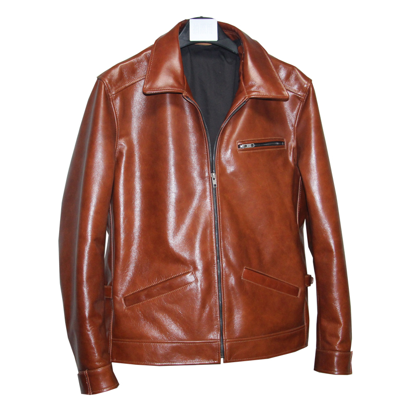 2020 Brown Men Slim Fit Casual Leather Jacket Plus Size XXXXXL Genuine Cowhide Russian Autumn Fashion Natural Leather Coat