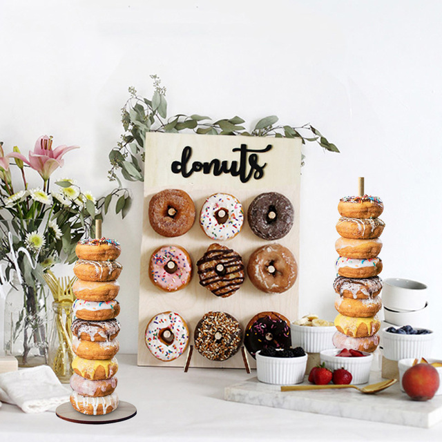 Donut Wall Stand Wedding Decoration DIY Doughnut Display Bar With Base Baby Shower Birthday Party Cake Dessert Stand Table Decor