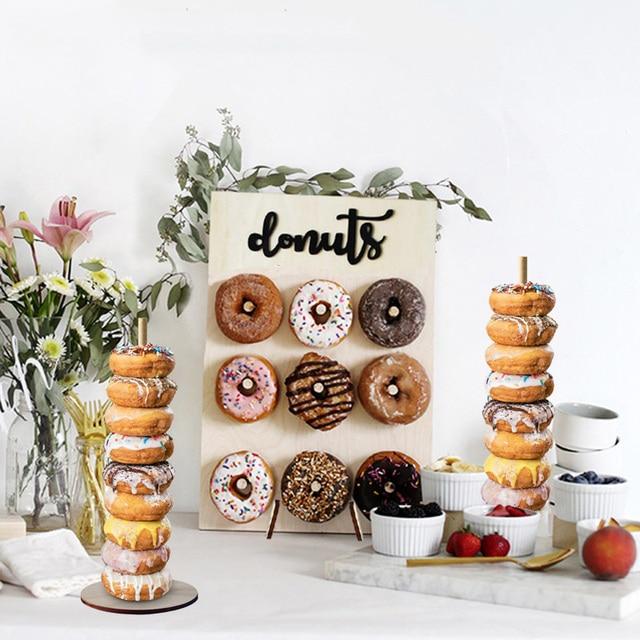ドーナツ壁スタンド結婚式の装飾 diy ドーナツ表示ベースでベビーシャワーの誕生日パーティーケーキデザートスタンドテーブル装飾