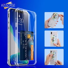 KISSCASE Bling Glitter Card Holder Phone Case For iPhone 11 Pro Max XS XR X 8 7 6 6S Plus 5 5S SE Soft TPU Transparent Cover kisscase transparent phone case for iphone xr x xs max 7 8 6 6s plus soft silicone case for iphone 11 pro max 5 5s se back cover
