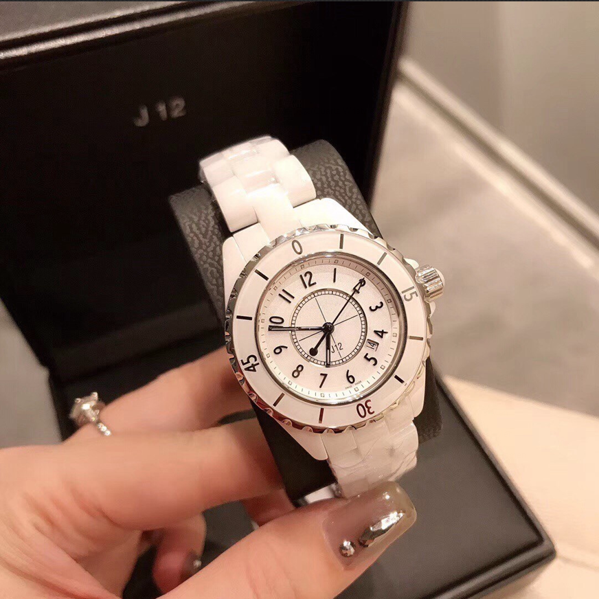 Men/ Women's Top Quality Luxury Designer Ceramic Watches J12 Watch Sports Waterproof Wristwatch Black White Classic Quartz Watch
