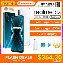 Realme x3 superzoom global versão 8gb 128gb 60x super zoom snapdragon 855 + 120hz display 64mp quad camera ufs 3.0 30w carregador