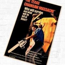 Texas, película de Horror de la masacre de Texas, cartel Retro de Kraft decorativo DIY, adhesivo de lienzo para pared, cartel artístico para Bar en casa, decoración