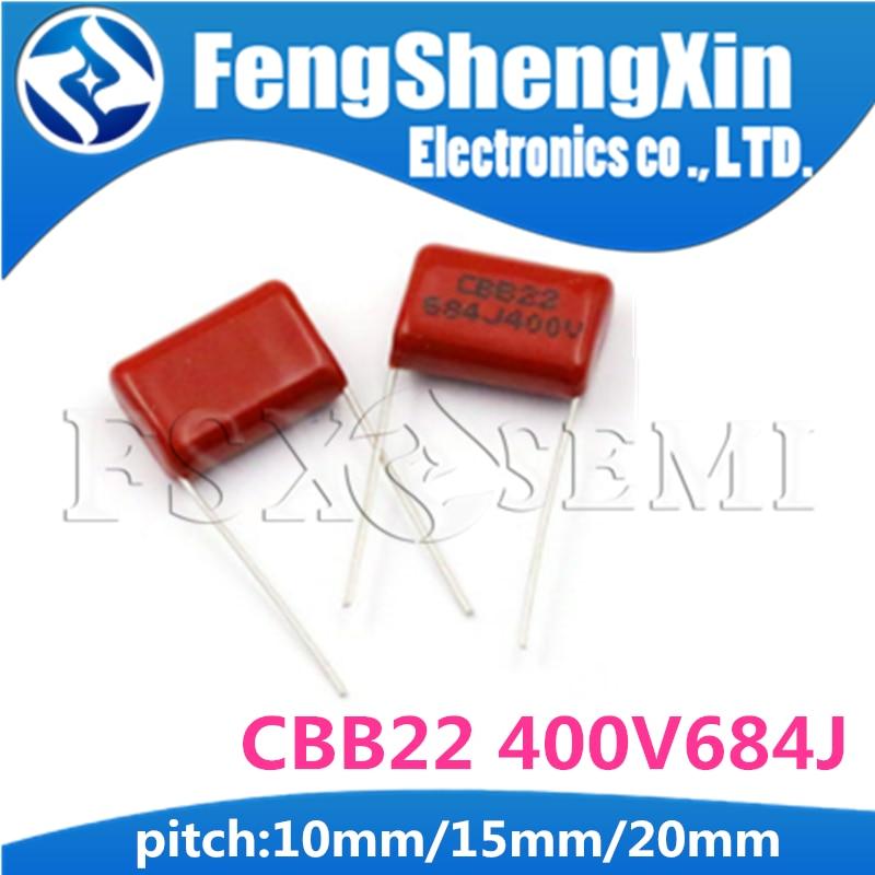 10PCS CBB22 400V684J Pitch 10mm/15mm/20mm 0.68UF 680nf 684 400V CBB Polypropylene Film Capacitor