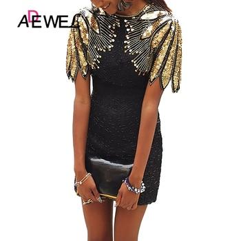 цена на ADEWEL Black Sequin Shoulder Cocktail Party Dress Vestidos De Fiesta De Noche Vestidos Verano 2020 Mujer Bodycon Dress XL