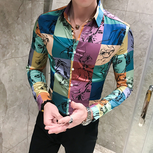 Image 1 - Brytyjski styl mężczyźni koszula w kratę moda 2020 kolorowe bluzki z długim rękawem mężczyźni Slim Fit casualowe w stylu Streetwear koszule dla mężczyzn Plus rozmiar