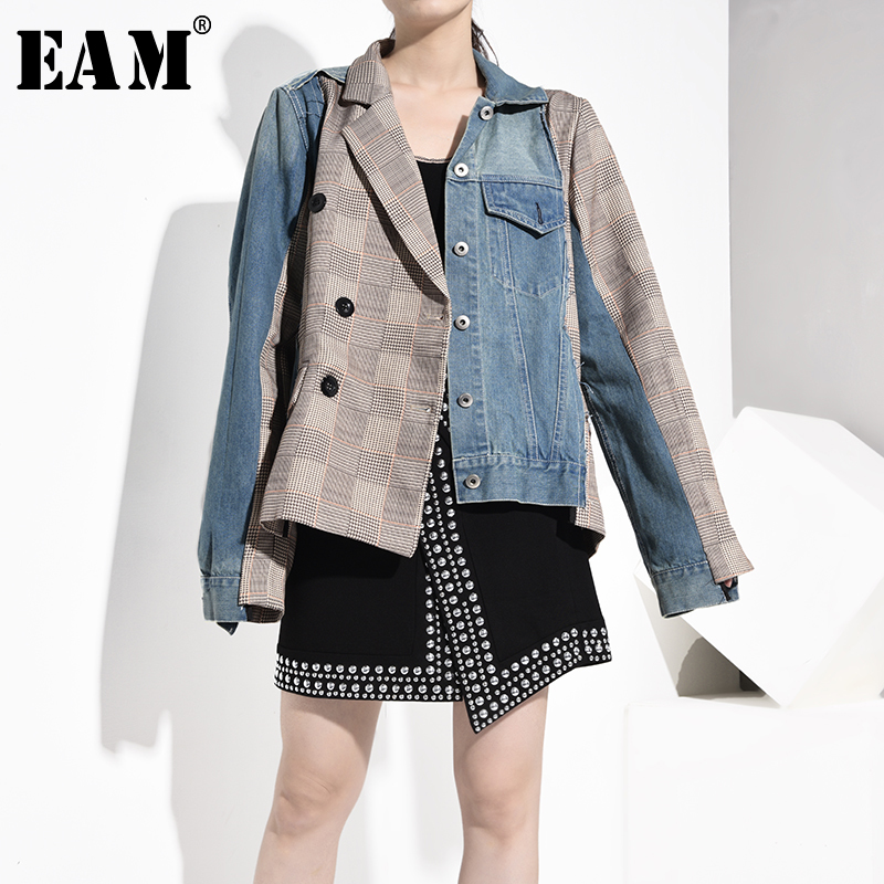 [EAM] Loose Fit Blue Denim Plaid Stitch Big Size Jacket New Lapel Long Sleeve Women Coat Fashion Tide Spring Autumn 2020 JT8880