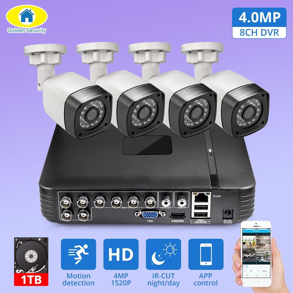 4pcs 4MP 4CH AHD DVR CCTV Kit Sistema de Câmera de Segurança Ao Ar Livre Sistema de Vigilância de Vídeo Da Câmera de Visão Noturna P2P HDMI 1520P