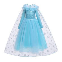 AmzBarley Toddler Girls Princess Elsa costume Snow Queen sequined cosplay Christmas party outfits Long sleeves Winter Ball Gowns