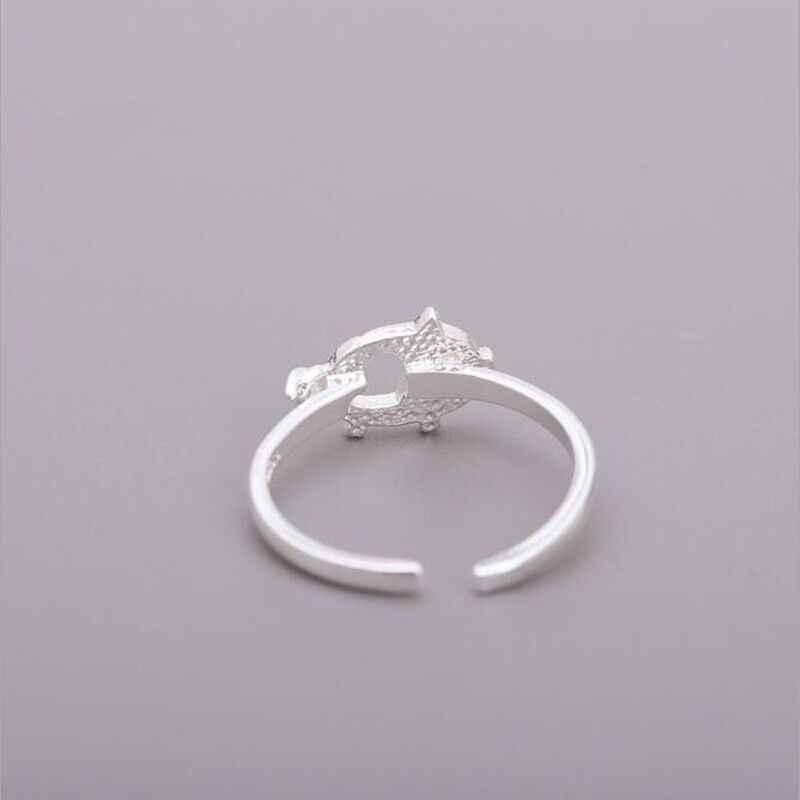 XIYANIKE 925 เงินสเตอร์ลิงสัตว์น่ารักเปิดแหวน Creative Handmade เครื่องประดับอุปกรณ์เสริมสำหรับงานแต่งงานของผู้หญิงคู่