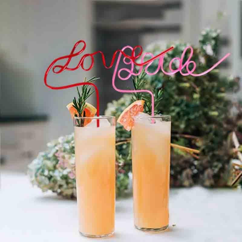 Bride Love alphabet-shape Letter straws Bride To Be Team Wedding decoration Bridal shower 1pc plastic juice drinking straw 25cm
