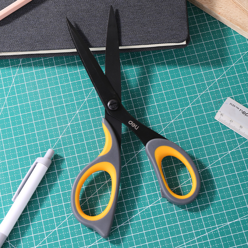 Ultimate SaleDELI Scissors Stationery Teflon Stainless-Steel Utility Office Hand-Craft Coated-Soft-Touch