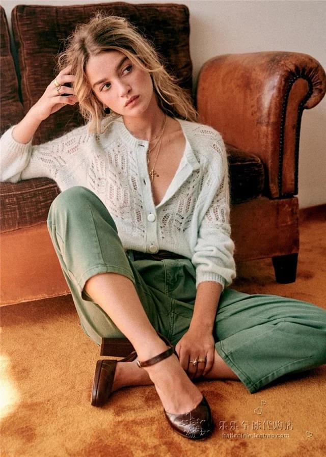 2020 New Spring French Style Hollow Crochet Knitting Round Neck Button Sweater Cardigan
