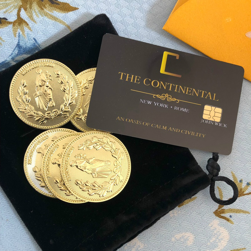Movie John Wick Cosplay Prop John Wick Zinc Alloy Gold Collection Coins With Continental Hotel Card
