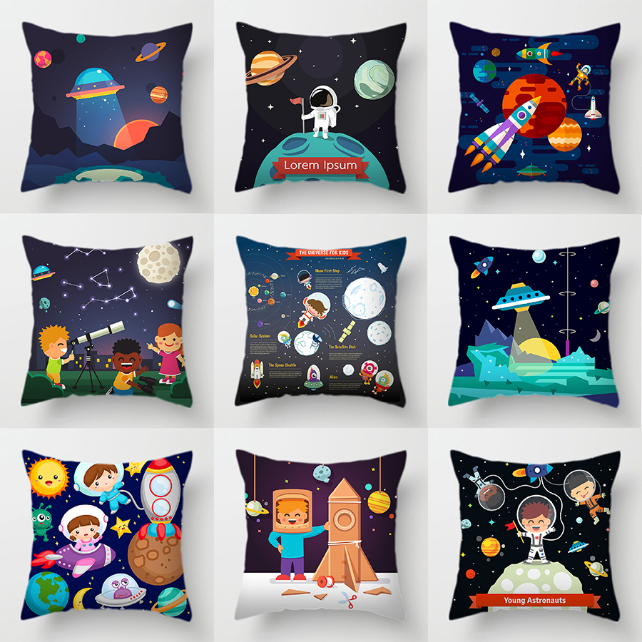 The Universe For Kids Sofa Decorative Cushions Cover Space Dream Astronaut Alien Throw Pillows Case Living Room Decoration Home