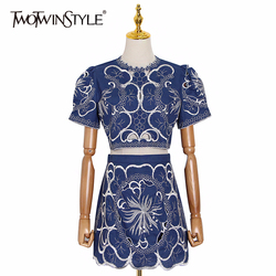 TWOTWINSTYLE Elegant Embroidery Two Piece Sets Women O Neck Short Sleeve Top High Waist Hit Color Skirt Hollow Out Suits Female