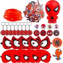 72Pcs Spider Superhero Theme Party Supplies Mask Squeeze Toy Sticker Rubber Bracelet Badge Keychain Party Favor for Children
