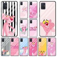 Glas Fall Für Samsung Galaxy A51 A71 A50 A70 A31 A21S M31 A30 A32 A91 M30s A10 A12 A40 Telefon abdeckung Funda Cartoon Rosa Panther