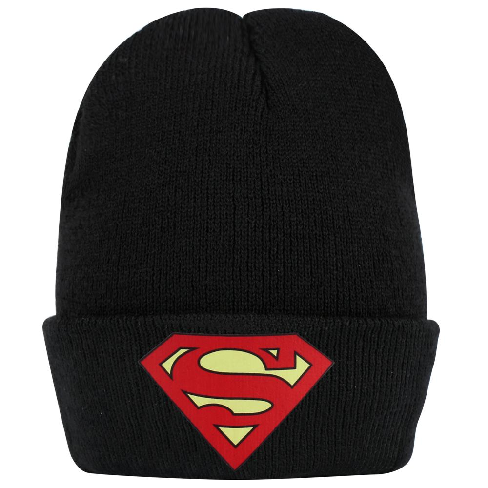 Black Grey Knitted Beanie Red Superman Logo Winter Warm Men's Cold Cool Bonnet Skullcap Print Streetwear Short Hats Children