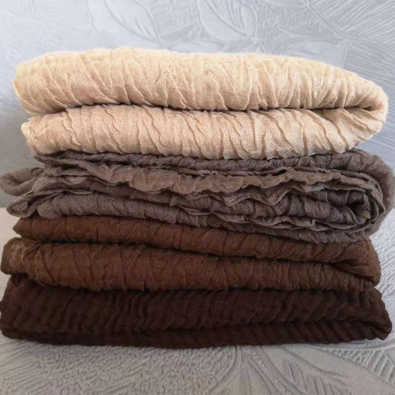 Wholesale Women Cotton Crinkle Pleated Scarf Hijab Plain Solid Color Pleated Ruched Wrinkle Long Large Scarves Hijabs