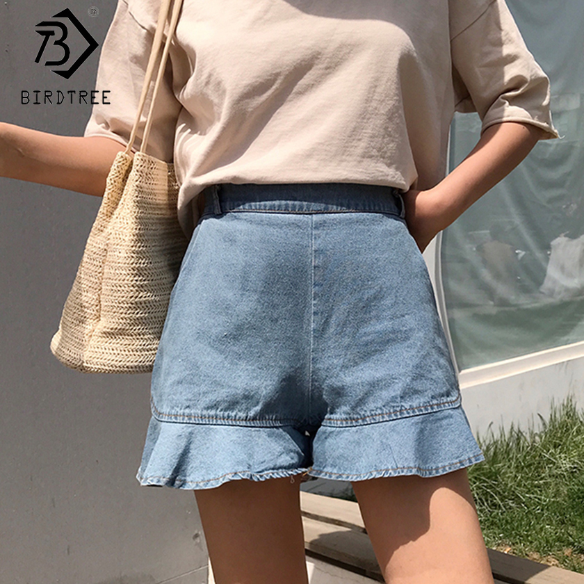 Plus Size Women Loose Denim Shorts Spring Summer Fashion Casual High Elastic Waist Bottoms Ruffles Shorts New 2020 B03509O