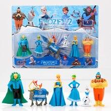 6 sztuk Frozen2 królowa śniegu Elsa Anna pcv figurki Olaf Kristoff Sven Anime lalki figurki dzieci zabawki dla dzieci prezenty