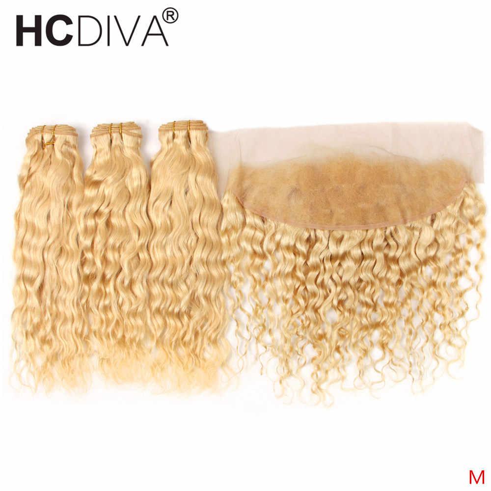 613 Blonde Bundels Met Sluiting Braziliaanse Water Wave 3 Bundels Met Frontale Blonde Kant Frontale Sluiting Met Bundels Remy Haar