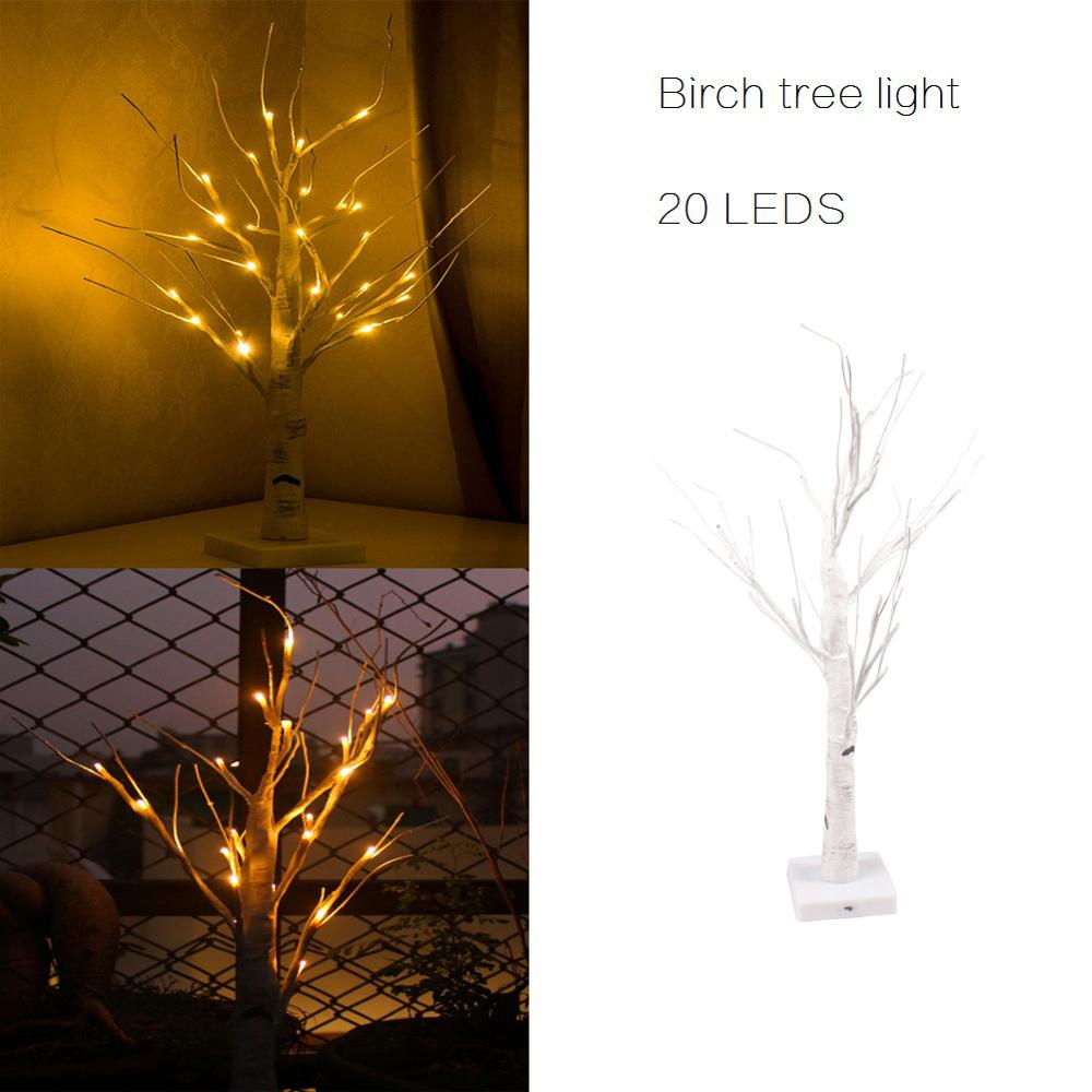 24-LED Birch Tree Light Tabletop Tree Light Battery Powered Warm White For Indoor Decoration