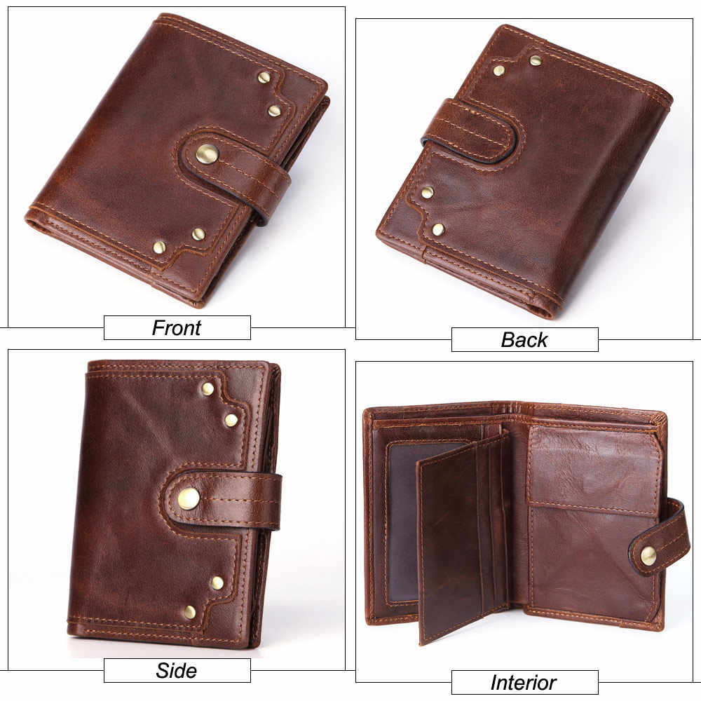 Flanker new vintage skóra bydlęca portfel damski z kieszonką na monety skórzana torebka damska etui na karty hasp krótki portfel