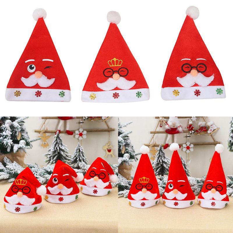 Childrens Christmas Pompom Hat Embroidered White Beard Santa Claus Glasses Carto  NEW