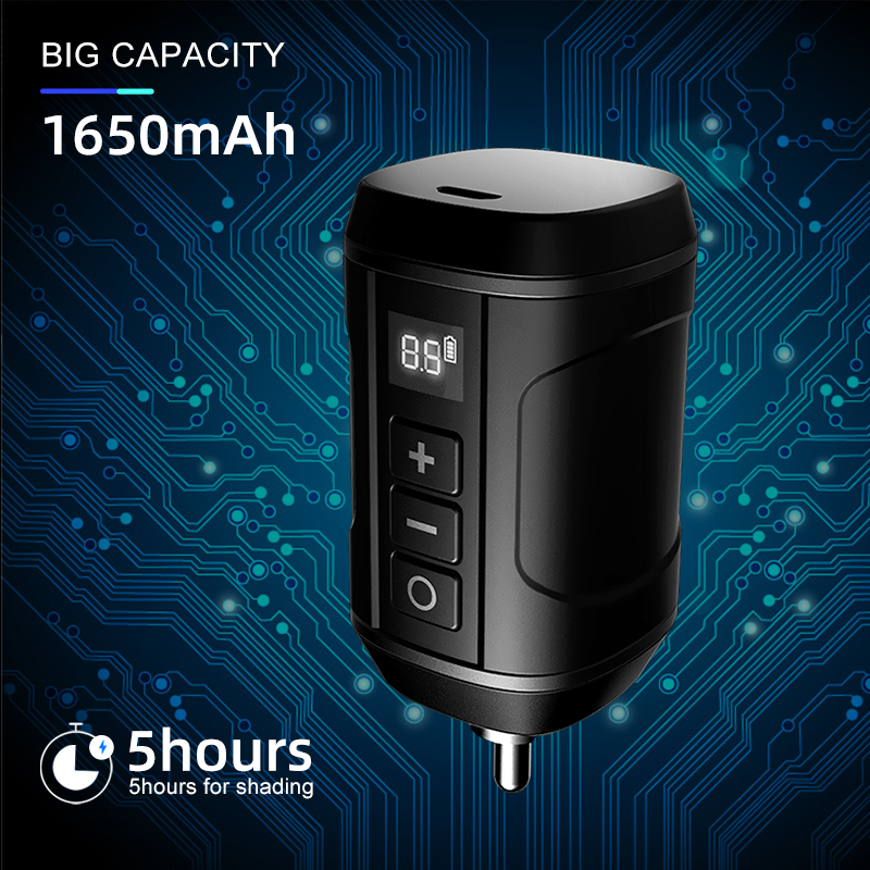 Wireless Tattoo Power Supply RCA DC Connector Fast Charge Battery Tattoo Supplies for Rotary Tattoo Machine