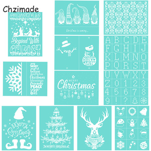 Chzimade Merry Christmas Day Self-Adhesive Silk Screen Printing Stencil Mesh Transfers 28X21CM For T-Shirt Diy Home Decoration